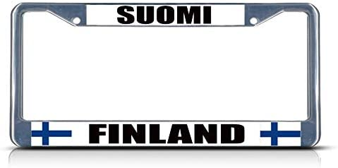 FINLAND SUOMI Metal WHITE License Plate Frame FINNISH FLAG PRIDE Tag