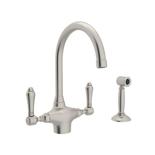 Rohl A1676LMWSSTN-2 Country Kitchen Single Hole Faucet with Metal Levers Sidespray and C Spout, Satin Nickel - Nickel Country Single Hole