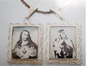 Double Medallion Pendant, Jesus and Mary