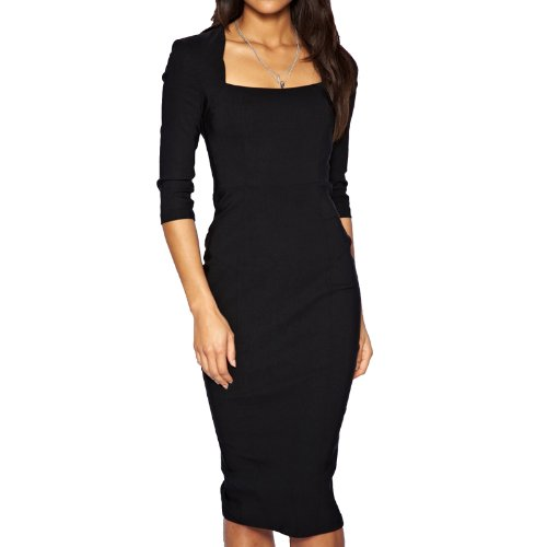 Sexy Womens 34 Sleeve Pencil Dress Midi Length Square Neck Office