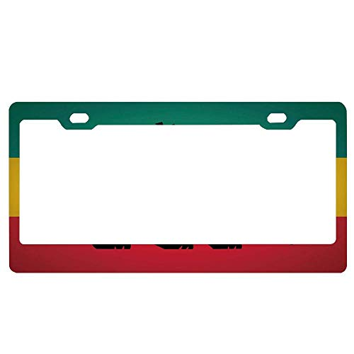 Rasta,Judah Lion with a Rastafari Flag King Jungle Reggae Theme Art Print,Black Green Yellow and Red License Plates Frame, Black Aluminum Metal with Screw Caps, 2 Holes for US ()