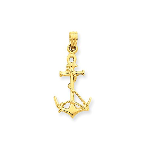 14k Yellow Gold 3-D Anchor with Shackle and Entwined Rope Pendant (11 x 25 mm) - Gold 3d Anchor Charm