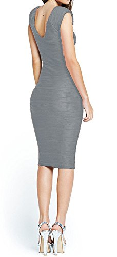 Grey Sleeveless Midi Women's Length Knee Taydey Dress Dresses Party Evening zwBxP