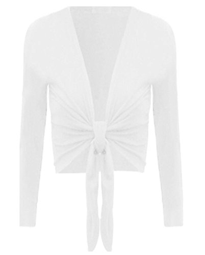 WOMEN'S TIE UP CROP SHRUG WRAP BOLERO CARDIGAN TOP SIZES (ML, WHITE)