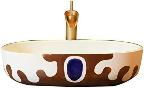 XiuHUa テーブル楕円形のバスルームの洗面台バルコニー洗濯プールバスルーム洗面59x50x15cmの洗面化粧台、小さなアパートのホームセラミックス ホームセンター (Size : 59x50x15cm)