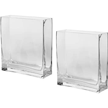 Amazon Rectangle Vase Clear Glass Set Of 2 Home Kitchen