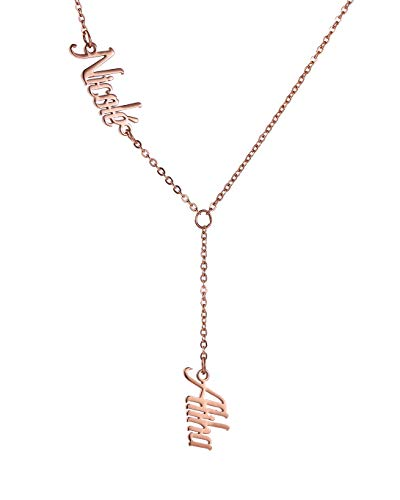 GR35Z9 2 Name Customized Necklace Y Shaped Lariat Chain for Women