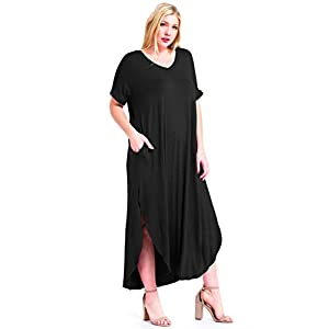 12 Ami Plus Size Solid V-Neck Pocket Short Sleeve Loose Maxi Dress – Made in USA