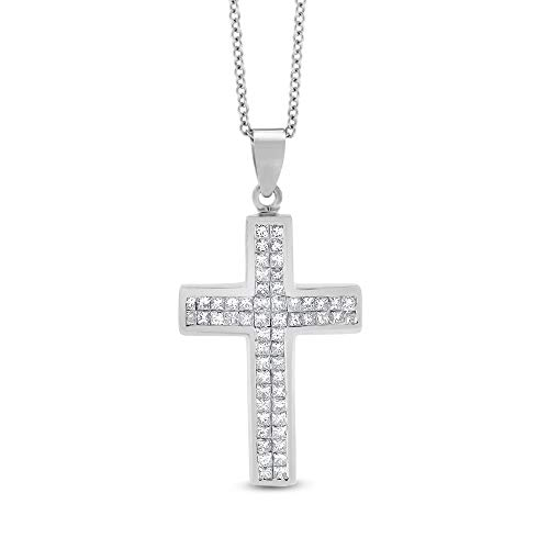 (1.12 Ct. Natural Diamond Invisible Set Princess Cross in Solid 14k White Gold )