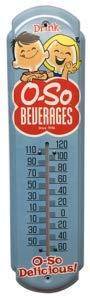 Small Soda Retro O-so Logo Vintage Style Thermometer