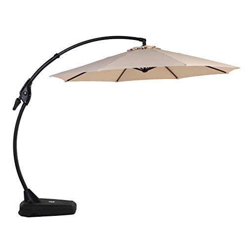 Grand patio Deluxe 10 FT Curvy Aluminum Offset Patio Umbrella with Handle and Crank, Banana Style Patio Cantilever Umbrella, 8 Ribs Large Patio Umbrella with Base, Beige