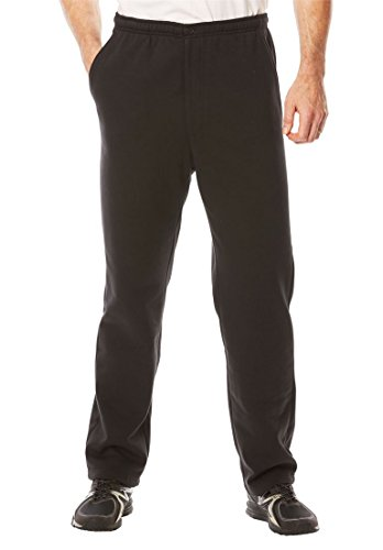 Kingsize Men's Big & Tall Explorer Fleece Zipper Fly Pants, Black Tall-2Xl
