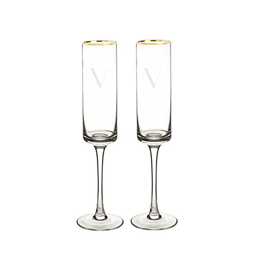 Cathy's Concepts 3668G-V Personalized Gold Rim Champagne Flutes (Set of 2), Clear