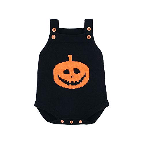 Baby Knit Strap Romper - Halloween Pumpkin Jumpsuit For Toddler Baby Boy Girl
