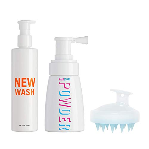 New Wash KIT - New Wash Hair Cleanser 8-oz + Hair Powder 1.35-oz + In-Shower Brush for Cleansing and Conditioning, Instant Hair Refresh and Volume