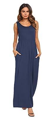 BLUETIME Women's Sleeveless Racerback Loose Plain Summer Beach Long Maxi Tank Dress Sundress