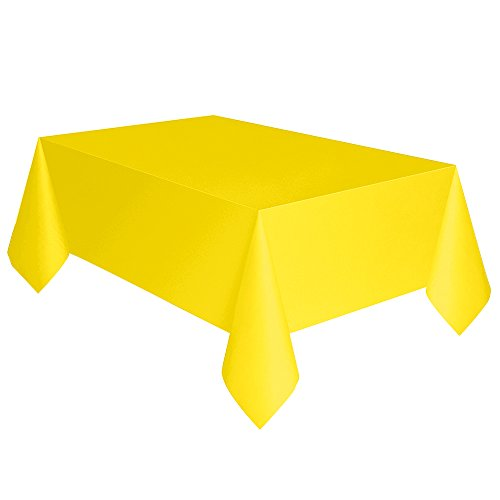 "Neon Yellow Plastic Tablecloth, 108"" x 54"""