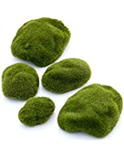 6 Pieces Artificial Moss Rocks Moss Stone Decorative Flocking Stone Faux Green Moss Covered Stones for Floral Arrangements Micro Landscape Decoration Accessories Fairy Gardens DIY Crafting(10CM/3.9)