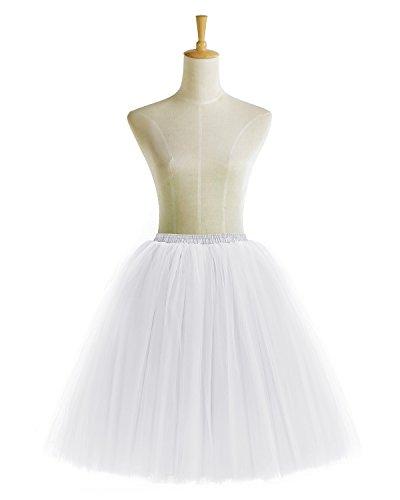 Bridesmay Faldas Tul Mujer Corta Cancan Enagua Retro Rockabilly White