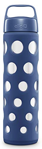 Ello Pure Glass Water Bottle with Silicone Sleeve | 20 oz | Bold Blue Fizz