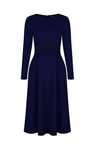 GAMISS Mujer Vintage Vestido Mangas Largas Casual con Bolsillo Invierno Dress S-XL Azul