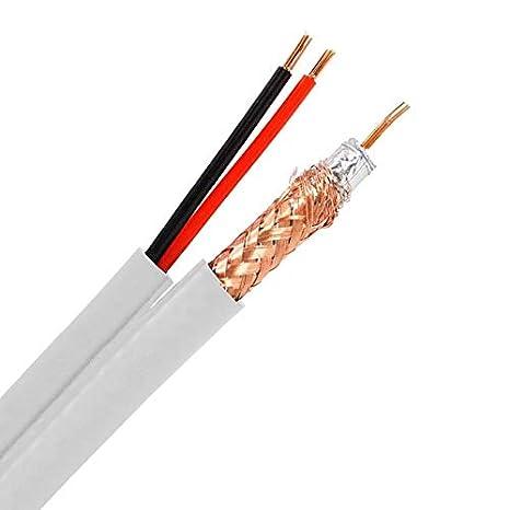 300m Cable Coaxial RG59 Cobre-Aluminio con dos Cables Eléctricos Blanco efectoLED