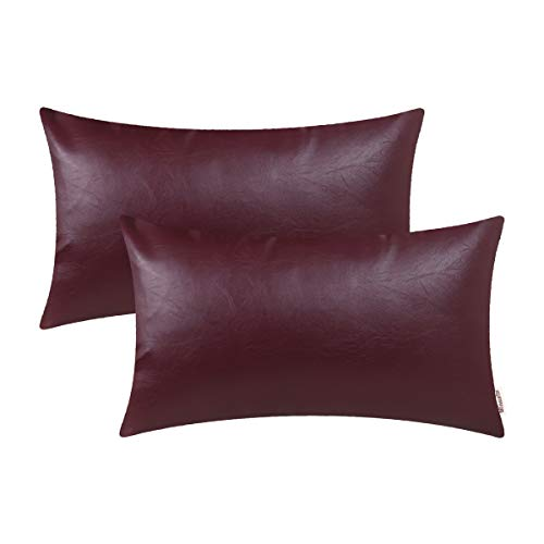 Accents Burgundy - BRAWARM Cozy Bolster Pillow Covers Cases for Couch Sofa Bed Solid Faux Leather Soft Lumbar Cushion Covers Durable Pillowcase Home Decoration Accent Both Sides 12 X 20 Inches Burgundy Pack of 2