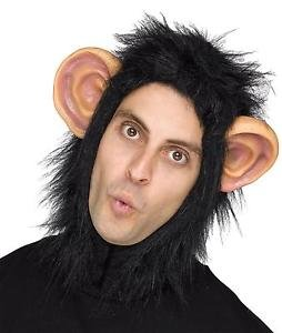 [ADULT BLACK CHIMP BEAST FURRY MASK WITH EARS COSTUME FW93343C] (Chimp Hands Costume)