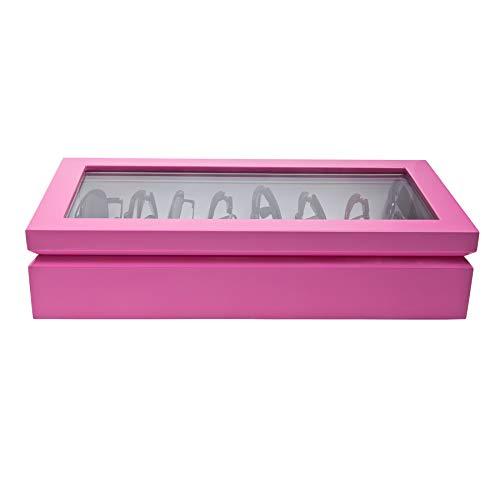 - OYOBox Maxi Luxury Eyewear Organizer, Lacquered Wood Box for Glasses + Sunglasses, Hot Pink
