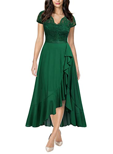 Miusol Women's Formal Floral Lace Ruffle Cocktail Party Dress,Large,Green