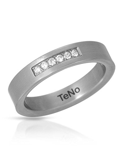 - Teno Stainless Steel 0.12 CTW Color F, VS1 Diamond Band Unisex Ring. Ring Size 8. Total Item weight 4.8 g.