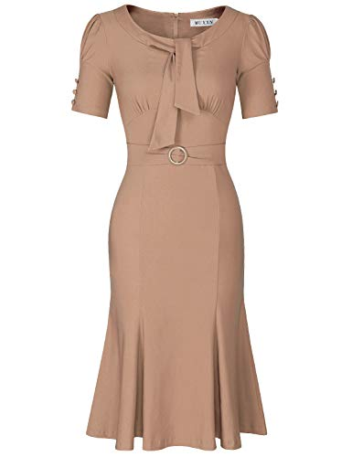 MUXXN Womens Pinup Style Scoop Neck Ruched Midi Semi Formal Camel Casual Cocktail Dress (Camel M) (Pin Up Style Dresses)