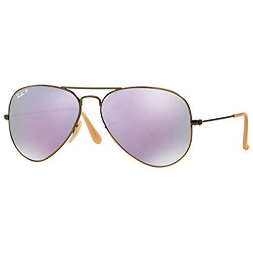 Ray-Ban Unisex-Adult Aviator Large Metal Non-Polarized Aviator Sunglasses, Brushed Bronze Demishiny, 58 mm ()