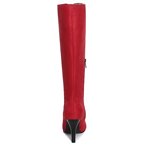Knee High High TAOFFEN Fashion Heels Women Red Size Extra Boots X6OwxOq