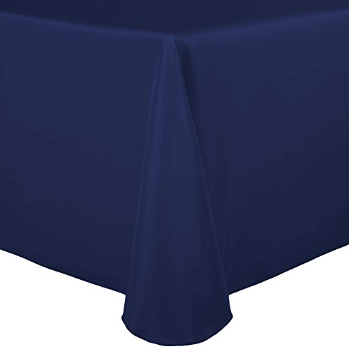 Ultimate Textile 60 x 120 Inch Oval Polyester Linen Tablecloth Navy Blue