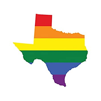Texas state shaped gay pride rainbow flag sticker self adhesive vinyl decal lgbt tx