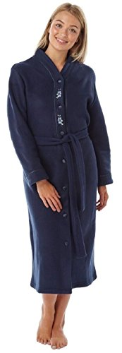By Robe With Belt Deep Lady Fleece Through 4075 26 Womens Button 24 Olga Dressing Gown Navy nUBvp08n