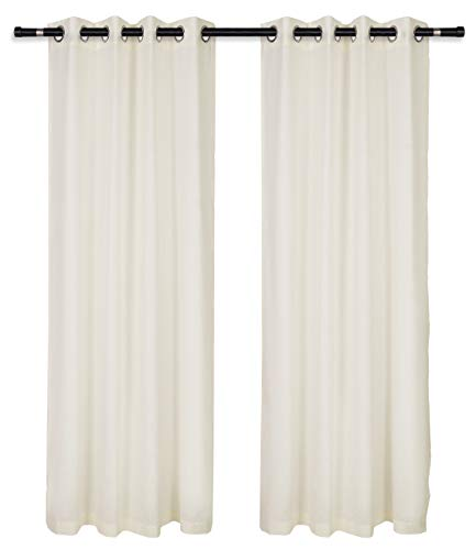 (Glamburg Linen Cotton Window Curtains 2 Panels 50x84 Grommet Top, Linen Curtains, Curtains for Living Room, Curtains for Bedroom, Curtains 84 Inch Length - Ivory )