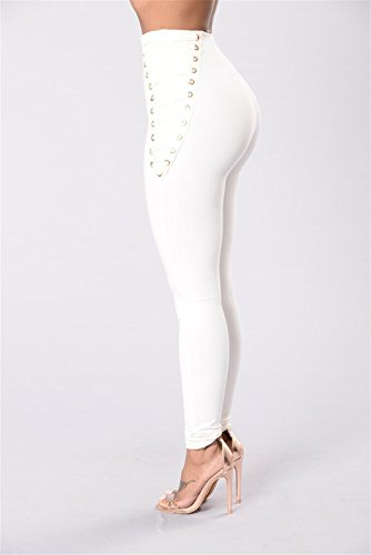 Haute Jeans Pantalon Bodycon Blanc Denim Stretch Tenxin Solide Les Taille Legging Skinny Haute Femmes Taille Crayon v776wx