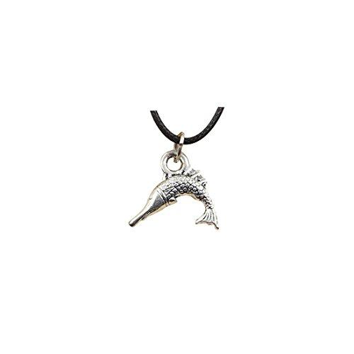 - Fashion Tibetan Silver Pendant swordfish fish Necklace Choker Charm Black Leather chain