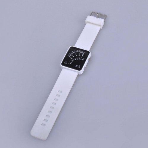 *White* Multi-function Electronic Unisex LED Digital Sports Silicone Band Wrist Watch