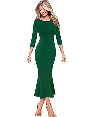 - VFSHOW Womens Elegant Vintage Cocktail Party Mermaid Midi Mid-Calf Dress 1716 GRN XS2