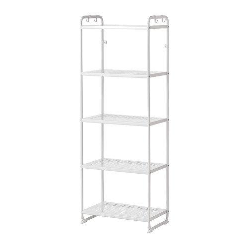 Mulig Shelving Unit 5 Stain Resistant Shelves with Hooks Organizer White