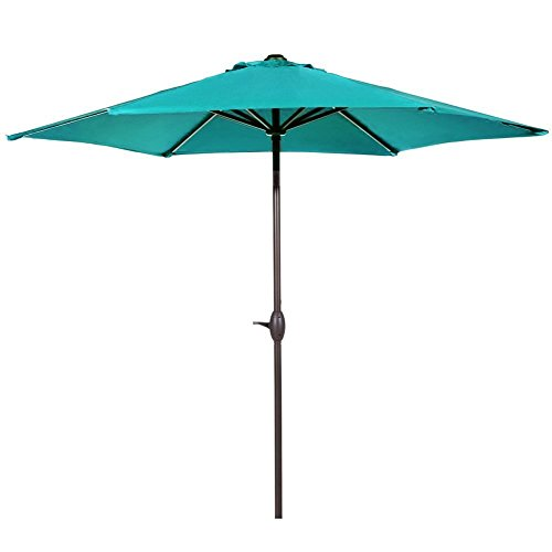 Abba Patio Outdoor Patio Umbrella 9-Feet Aluminum Market Table Umbrella with Push Button Tilt and Crank, Turquoise (9' Outdoor Square Patio Market)