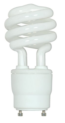 (Satco S8205 18 Watt (75 Watt) 1200 Lumens Mini Spiral CFL Soft White 2700K GU24 Base Light Bulb)