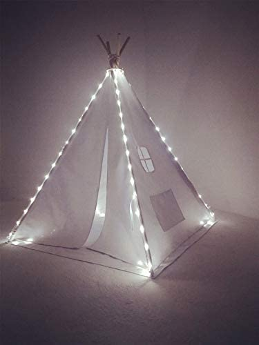 Best Teepee Tent for Kids with Window Floor, Including Style Matching Accessories Carrying Case Great Kids Teepee for Indoor Playroom Bedroom GreyThick Stripe_1pc