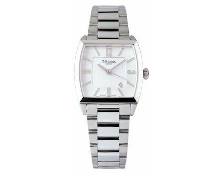 Mujer rectangular de acero reloj de pulsera y Altanus esfera blanca 16105B