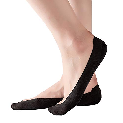 RIIQIICHY No Show Socks Women Non Slip Thin Hidden Invisible Ultra Low Cut Liner Socks for Flats Boat Loafers High-Heel Shoes 4 to 6 Pack