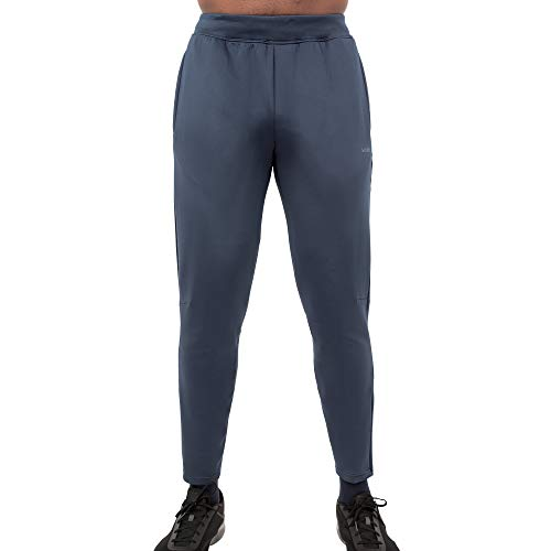 Midnight Accent Chest - Skora Men's Sweatpants Slim Fit Stretch Running Performance Pants (Large, Midnight)