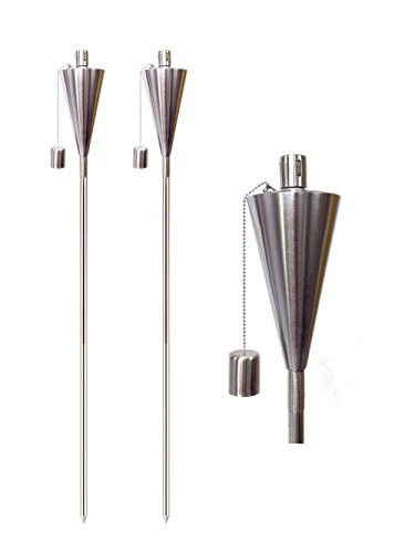 65 Inch Garden Torches Stainless Steel Cone Shape Set Of 8